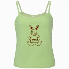 Cute Bunny Happy Easter Drawing I Green Spaghetti Tank by dflcprints