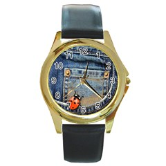 Blue Jean Lady Bug Round Leather Watch (gold Rim)  by TheWowFactor