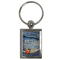 Blue Jean Lady Bug Key Chain (rectangle) by TheWowFactor