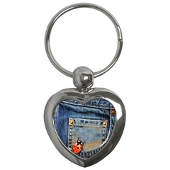 Blue Jean Lady Bug Key Chain (heart) by TheWowFactor