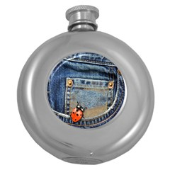 Blue Jean Lady Bug Hip Flask (round) by TheWowFactor
