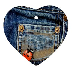 Blue Jean Lady Bug Heart Ornament (two Sides) by TheWowFactor