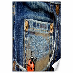 Blue Jean Lady Bug Canvas 12  X 18  (unframed) by TheWowFactor