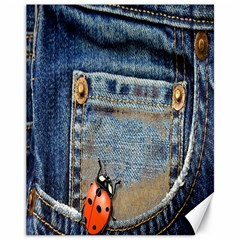 Blue Jean Lady Bug Canvas 11  X 14  (unframed) by TheWowFactor
