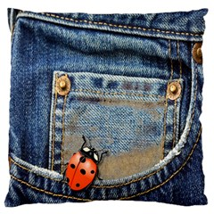 Blue Jean Lady Bug Large Cushion Case (two Sided)  by TheWowFactor
