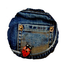 Blue Jean Lady Bug 15  Premium Round Cushion  by TheWowFactor