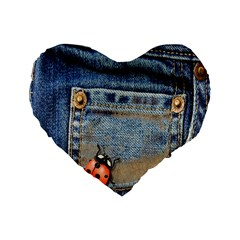 Blue Jean Lady Bug 16  Premium Heart Shape Cushion  by TheWowFactor