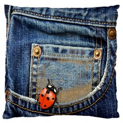 Blue Jean Lady Bug Large Flano Cushion Case (one Side) by TheWowFactor