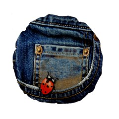 Blue Jean Lady Bug 15  Premium Flano Round Cushion  by TheWowFactor