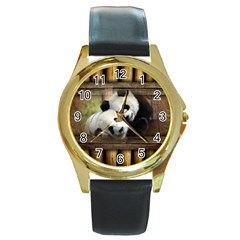 Panda Love Round Leather Watch (gold Rim)  by TheWowFactor