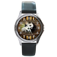 Panda Love Round Leather Watch (silver Rim) by TheWowFactor