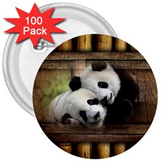 Panda Love 3  Button (100 Pack) by TheWowFactor