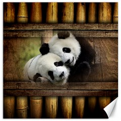 Panda Love Canvas 12  X 12  (unframed) by TheWowFactor