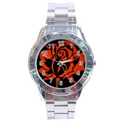 Red Rose Etching On Black Stainless Steel Watch by StuffOrSomething
