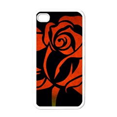 Red Rose Etching On Black Apple Iphone 4 Case (white) by StuffOrSomething