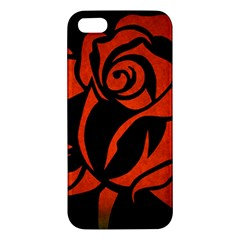 Red Rose Etching On Black Apple Iphone 5 Premium Hardshell Case by StuffOrSomething
