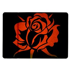 Red Rose Etching On Black Samsung Galaxy Tab 10 1  P7500 Flip Case by StuffOrSomething