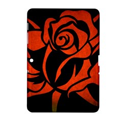 Red Rose Etching On Black Samsung Galaxy Tab 2 (10 1 ) P5100 Hardshell Case  by StuffOrSomething