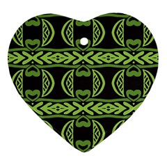 Green Shapes On A Black Background Pattern Ornament (heart) by LalyLauraFLM