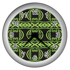 Green Shapes On A Black Background Pattern Wall Clock (silver) by LalyLauraFLM