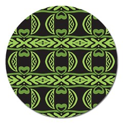 Green Shapes On A Black Background Pattern Magnet 5  (round) by LalyLauraFLM