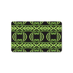 Green Shapes On A Black Background Pattern Magnet (name Card) by LalyLauraFLM