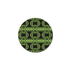 Green Shapes On A Black Background Pattern Golf Ball Marker (4 Pack) by LalyLauraFLM
