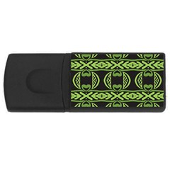 Green Shapes On A Black Background Pattern Usb Flash Drive Rectangular (4 Gb) by LalyLauraFLM