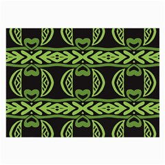 Green Shapes On A Black Background Pattern Glasses Cloth (large, Two Sides) by LalyLauraFLM