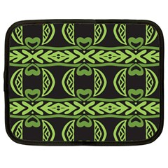 Green Shapes On A Black Background Pattern Netbook Case (xl) by LalyLauraFLM