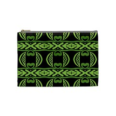 Green Shapes On A Black Background Pattern Cosmetic Bag (medium) by LalyLauraFLM