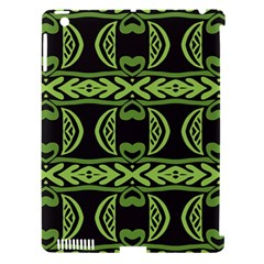 Green Shapes On A Black Background Pattern Apple Ipad 3/4 Hardshell Case (compatible With Smart Cover) by LalyLauraFLM