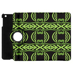 Green Shapes On A Black Background Pattern Apple Ipad Mini Flip 360 Case by LalyLauraFLM