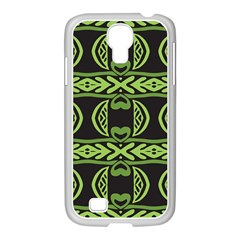 Green Shapes On A Black Background Pattern Samsung Galaxy S4 I9500/ I9505 Case (white) by LalyLauraFLM