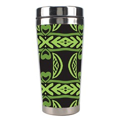 Green Shapes On A Black Background Pattern Stainless Steel Travel Tumbler by LalyLauraFLM