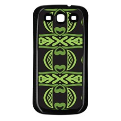 Green Shapes On A Black Background Pattern Samsung Galaxy S3 Back Case (black) by LalyLauraFLM