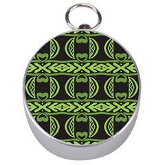 Green Shapes On A Black Background Pattern Silver Compass by LalyLauraFLM