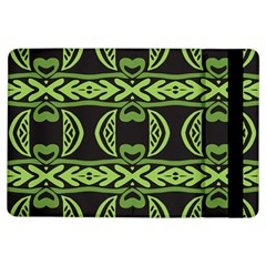 Green Shapes On A Black Background Pattern Apple Ipad Air Flip Case by LalyLauraFLM