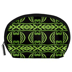 Green Shapes On A Black Background Pattern Accessory Pouch (large) by LalyLauraFLM