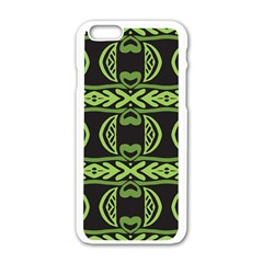 Green Shapes On A Black Background Pattern Apple Iphone 6 White Enamel Case by LalyLauraFLM