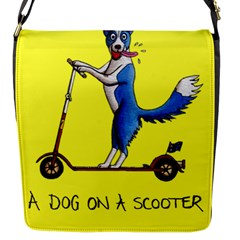 A Dog On A Scooter Flap Closure Messenger Bag (small)