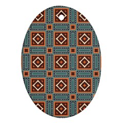 Squares Rectangles And Other Shapes Pattern Oval Ornament (two Sides) by LalyLauraFLM
