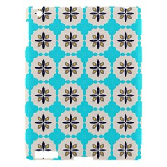 Floral Pattern On A Blue Background Apple Ipad 3/4 Hardshell Case by LalyLauraFLM