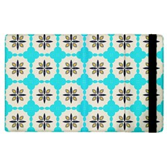 Floral Pattern On A Blue Background Apple Ipad 3/4 Flip Case by LalyLauraFLM