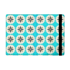 Floral Pattern On A Blue Background Apple Ipad Mini Flip Case by LalyLauraFLM