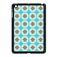Floral Pattern On A Blue Background Apple Ipad Mini Case (black) by LalyLauraFLM