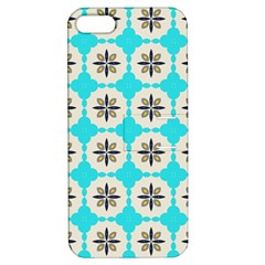 Floral Pattern On A Blue Background Apple Iphone 5 Hardshell Case With Stand by LalyLauraFLM