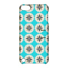 Floral Pattern On A Blue Background Apple Ipod Touch 5 Hardshell Case With Stand by LalyLauraFLM