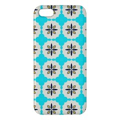 Floral Pattern On A Blue Background Apple Iphone 5 Premium Hardshell Case by LalyLauraFLM