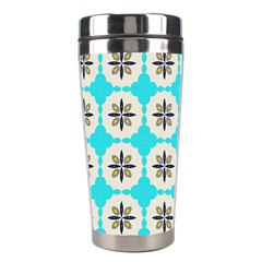 Floral Pattern On A Blue Background Stainless Steel Travel Tumbler by LalyLauraFLM